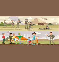 colorful military horizontal banners vector image