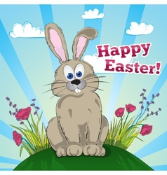 Greeting easter card with bunny vector image vector image