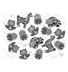 halloween set of sugar skull animals in contour vector image vector image