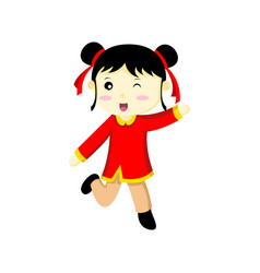 happy cute chinese girl wink graphic vector image