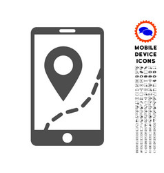 mobile map navigation icon with set vector image
