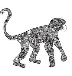 Ornamental hand drawn sketch of monkey in vector image