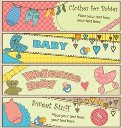 Set of 4 horizontal baby themed banners vector image vector image