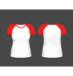 Womens raglan t-shirt in front and back views vector image
