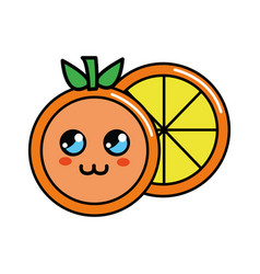Color kawaii cute orange icon vector