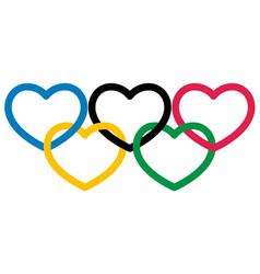 five multicolored heart shape symbol olympiad vector image