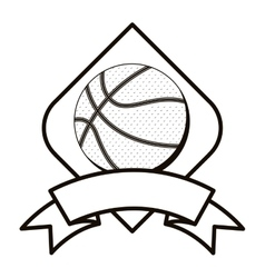 gray scale basketball tournament emblem with ball vector image