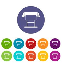 Large format inkjet printer set icons vector