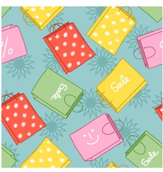 Seamless background with shopping colorful decorat vector image vector image
