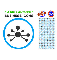 connection relations rounded icon with set vector image vector image