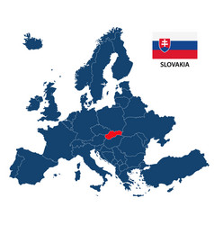 map of europe with highlighted slovakia vector image vector image