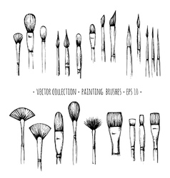 Set of hand-drawn brushes for painting isolated on vector image vector image