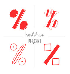 set of red hand drawn percent signs vector image