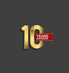 10 years anniversary simple design with golden vector