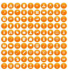 100 violation icons set orange vector