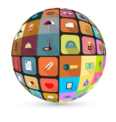 Abstract globe with flat icons vector