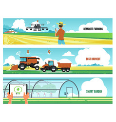 Agricultural banners smart farming and using vector