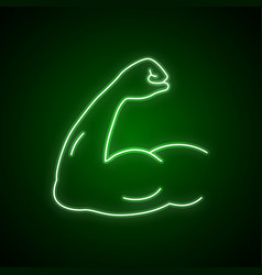 Arm muscle line neon icon strength symbol vector