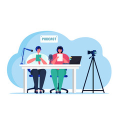 Audio podcast online streaming couple female male vector
