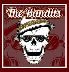 bandits skull wearing cap hand drawing vector image