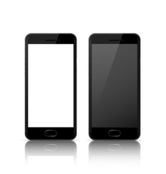 Black color mobile phone with blank and dark vector