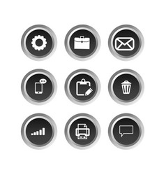 black office buttons on white background vector image