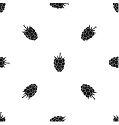 blackberry fruit pattern seamless black vector image