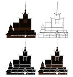 borgund stave church in right view norway vector image