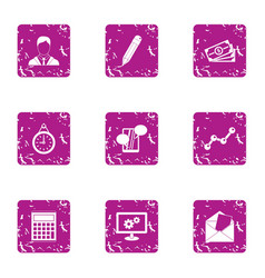 Business involvement icons set grunge style vector