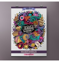 Cartoon colorful hand drawn doodles Holiday poster vector