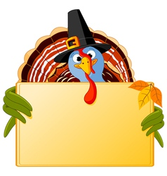 cartoon turkey banner vector image