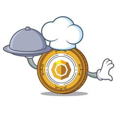 Chef with food komodo coin mascot cartoon vector