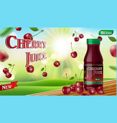 cherry juice with bokeh background on wooden table vector image