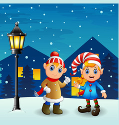 christmas elf couple with snowfall falling at nigh vector image