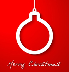 Christmas white ball applique on red background vector image