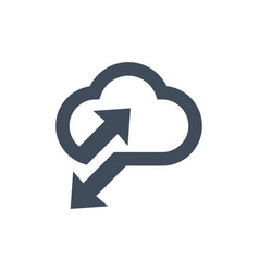 Cloud data sync icon for apps and websites vector