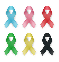 Color awareness ribbon set cancer ribbons vector