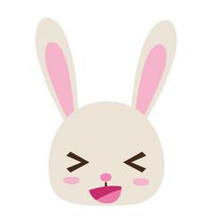 Colorful happy rabbit head wild animal vector