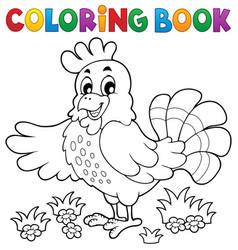 coloring book happy hen vector image