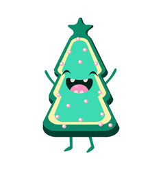 cookie christmas tree cheerful card vector image