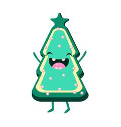 Cookie christmas tree cheerful card vector