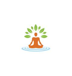 creative person lotus logo vector image