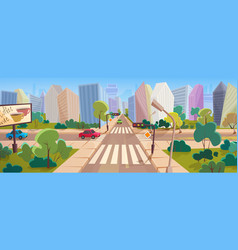 crossroad and cityscape at big modern city cartoon vector image