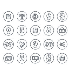 Currency finance forex trading line icons vector