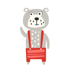 cute gray teddy bear in red pants standing funny vector image vector image