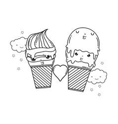 cute ice cream kawaii character vector image