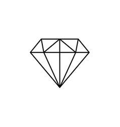 diamond icon line black on white vector image