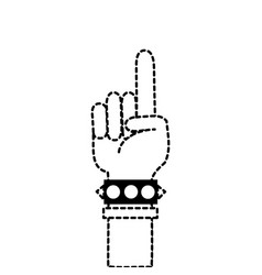 Dotted shape hand with bracelet and forefinger up vector