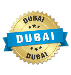 dubai round golden badge with blue ribbon vector image