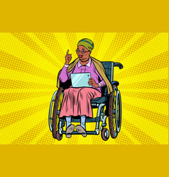Elderly african woman disabled person vector